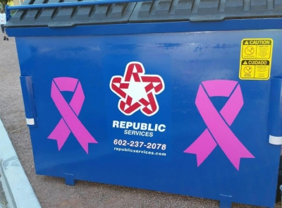 Republic Services - Pink Ribbons - National Garbage Man Day