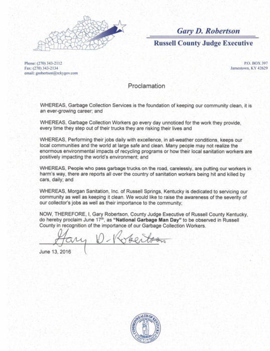 Russell County Kentucky Official Proclamation for National Garbage Man Day