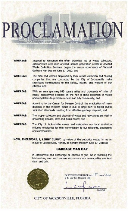 City of Jacksonville, FL National Garbage Man Day Proclamation