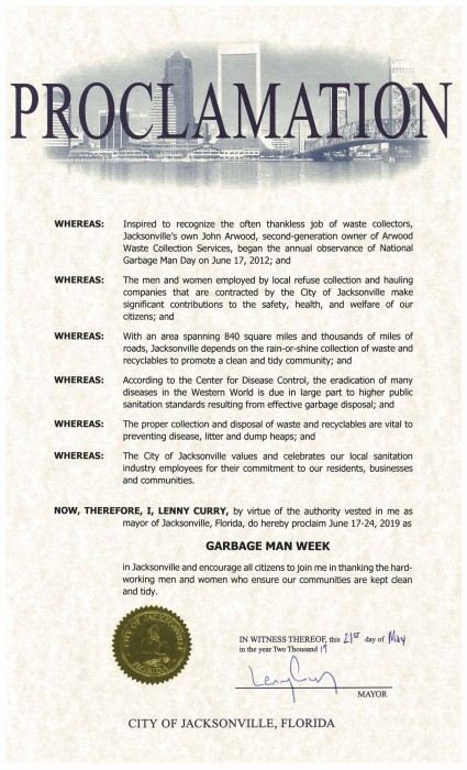 City of Jacksonville FL National Garbage Man Day Proclamation 2019