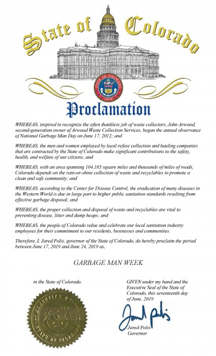 State of Colorado National Garbage Man Day Proclamation